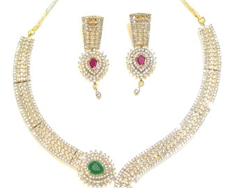 CZ's with ruby and emerald semi precious stones Necklace set