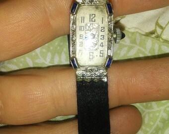 Antique Art Deco Ladies Seeland Watch Co. Platinum, Swiss Wrist Watch w/ Sapphires and Diamonds