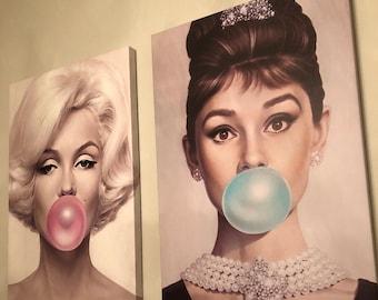 Marylin Monroe and Audrey Hepburn Bubblegum Art by Michael Moebius