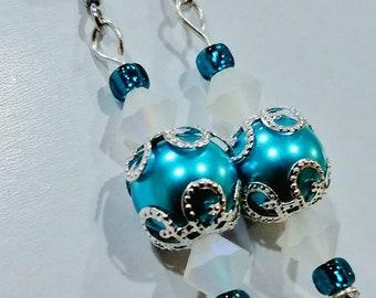 Elegant teal blue drop earring with matte clear swarovski detail