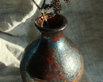"Ceramics of Raku. Vase ""Little Volcano"". For home and interior"