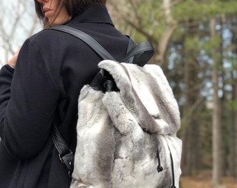Chinchilla Rex fur backpack