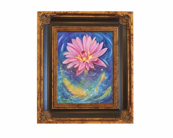 ORIGINAL OIL PAINTING 11x14 Framed Koi Pond Water Lily Art