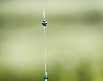 Y Silver Necklace | Hematite Cross Necklace | Women Dainty Necklaces | Wife Gift pendant | Silver Y Dainty | Cross necklaces | Y Silver Gift