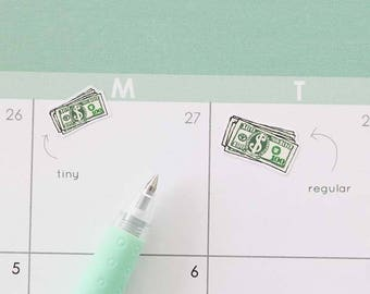 Payday Planner Stickers, 28 Dollar Bill Stickers, Pay Day, Tiny Money Stack, Money Tracker, Spending Sticker, Expenses, Budget Planner, PAY4