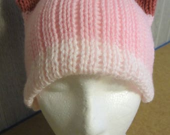 Tri-Pink PussyHat Cat beanie Womens March PUSSY HAT Cap Knit Kitty Ears Size SMALL Only, -- Charity Donation & Free Shipping USa