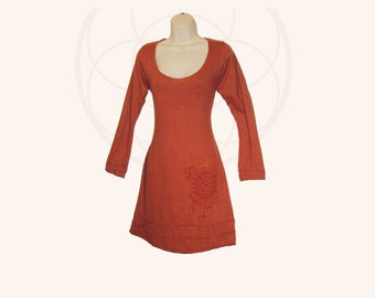 Organic Dress - Handmade from Organic Cotton and Hemp Jersey and hand dyed- printed with feather mandala