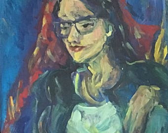 Lois Lane expressionist acrylic portrait in blues reds and yellows