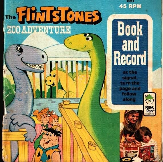 Flintstones Zoo Adventure Book and Record - Horace J Elias - 1974 - Vintage Record & Book