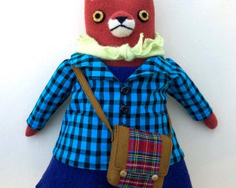 Girl Fox Doll with school bag wool bright plush softie