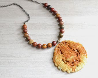 Tai- Brick Red Jasper Jade Pendant Long Statement Necklace