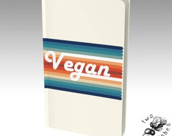 Vegan Retro Rainbow Small Notebook - Plain, Ruled, Grid, Bullet Journal