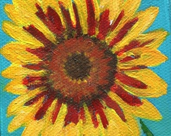 Sunflower acrylic painting  mini canvas art, Easel, Sunflower, Original acrylic painting, sunflower art, sunflower decor 3 x 3