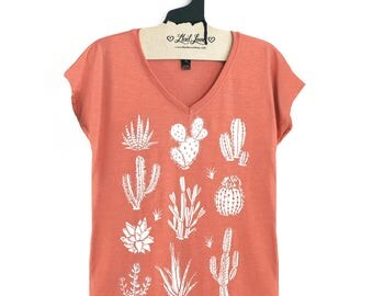 Small - Heather Terra cotta Tri blend V- Neck Ladies Tee with Cactus Print