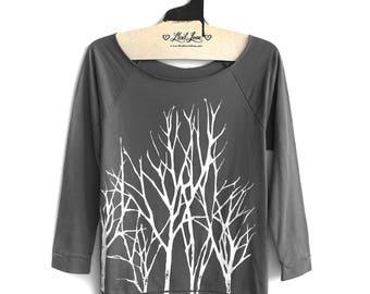 Large - Charcoal Sweatshirt Raw-Edge 3/4-Sleeve Raglan with Branch Trees Screen Print- Womens