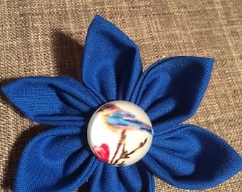 Royal Blue Bird Button Fabric Flower Brooch Pin