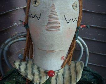 MUSTARD SEED ORIGINALS, Holiday, Winter, Christmas, Raggedy Ann, Primitive Doll by Folk Artist Sharon Stevens
