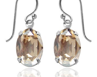 Swarovski Crystal Oval Drop Earrings Sterling Silver Golden Shadow or CHOICE OF COLOURS