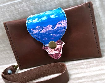 Leather Wallet fits Passport/ Phone Case with Wrist Strap & Zipper Pocket, Medium Brown / Mountains Print, * SALE * Coupon Codes