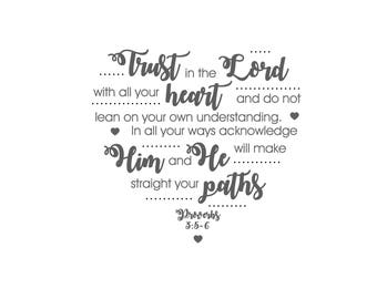 Proverbs 3:5-6 Trust in the LORD PRINTABLE Digital Download in grey and white