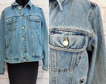 Vintage Tommy Hilfiger Denim Jacket 90s 00s Men's Women's Size Large Blue Denim Jean Jacket