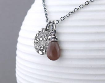 Brown Moonstone Necklace Dainty Gemstone Necklace Brown Necklace Silver Pendant Necklace Gift for Wife Boho Necklace Bohemian Jewelry - Solo