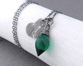 Small Emerald Necklace Green Silver Charm Necklace Sterling Silver Heart Pendant Necklace Christmas Gift for Her Boho Necklace - Solo