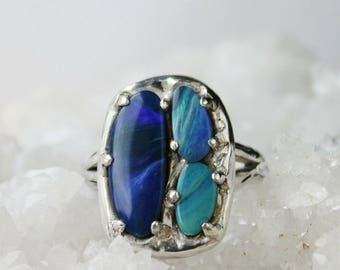 Opal Ring, sterling silver triple stone ring, blue jewelry, hand carved lost wax, prong set multistone big statement natural