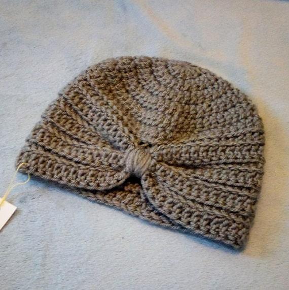 Grey Crocheted Turban Hat