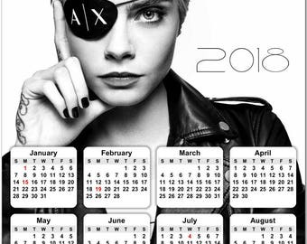 """Cara Delevingne 2018 Full Year View 8"""" Calendar - Magnet or Wall #3833"""
