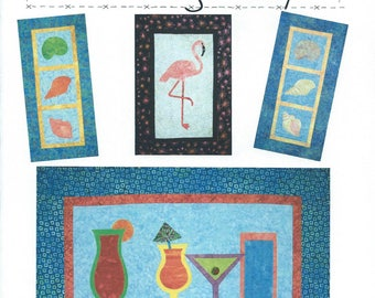 FLAMINGO QUILT Sew Pattern Applique Quilting Cocktails Drinks Martini Seashell Conch Shells