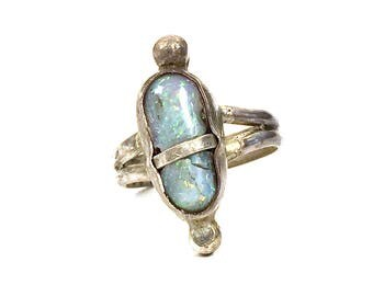Brutalist Opal Ring / Vintage Handmade Artisan Sterling Silver & Natural Gemstone One of a Kind Modernist Ring / Size 6.75