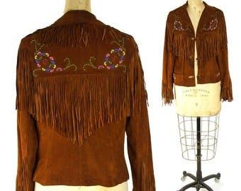RARE 50s Chris Line Originals Fringed Leather Jacket Vintage Handmade Beaded Buckskin Western Hippie Boho Rocker Cowboy Rockabilly Jacket