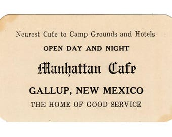Vintage CAFE Route 66 New Mexico Gallup NM Manhattan Cafe Advertising Card Travel Journal Cafe Art Collage Scrapbooking Art Supply