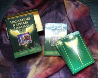 Archangel Raphael Healing Oracle Cards - 44 Card Deck and Book Kit with Hand Made Pouch & Mini White Sage Smudge Stick