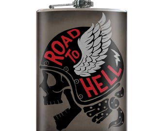 Road To Hell - Vintage Funny Hilarious Novelty 8oz Stainless Steel Flask - comes in a GIFT BOX -  by Trixie & Milo