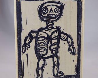 Walking Mummy Skeleton one of a kind block print on wood