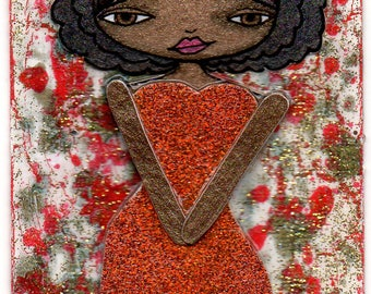 ACEO/ATC - Girl with Afro Wearing Red Glittery Va-Va-Voom Dress