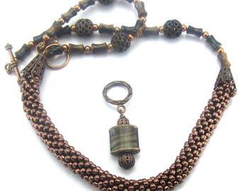 Bead Crochet Necklace, Copper, tiger Eye Necklace
