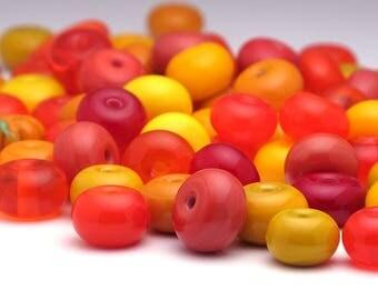 Handmade Lampwork Glass Spacers Destash Sale Orange Red Yellow 80 Beads SRA