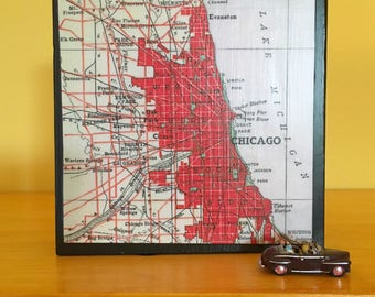 """Chicago Map Art Block - Home Office Decor - Housewarming Gift- New House or  Wedding  Present - Vintage Red Atlas 4"""" x 4"""""""