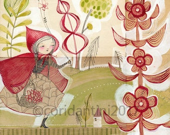 Original Watercolor little red riding hood, woman in red cape ON SALE
