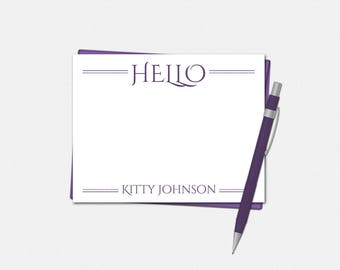 Personalized Hello Note Cards - Set of 10 - Flat Note Card - Hello Notecard - Gifts for Women - Hello Note Card - Hello Note Cards for Her