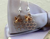 Honeycomb and Bee earrings Bronze Bee with Sterling or Gold filled earwires