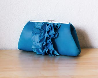 Steel Blue Satin Wedding Clutch with Metal Clasp- Ruffle Bridal Clutch with Personalization option