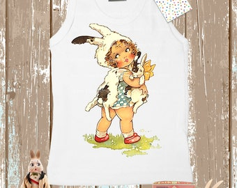 Retro Gift, Baby Gift, Toddler Gift, Bunny Shirt, Tank Top, Retro Shirt, Rabbit Shirt, Child's Shirt, Summer Shirt, Birthday Gift