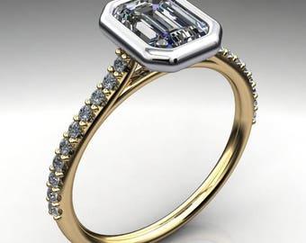halle ring - 1 carat emerald cut NEO moissanite engagement ring, emerald cut ring