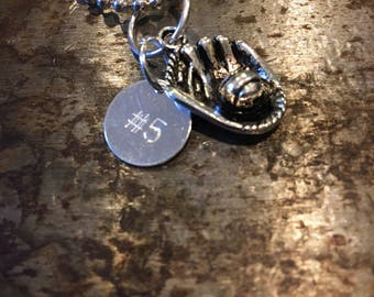 Personalized baseball or softball charm necklace