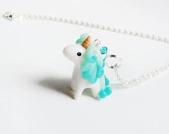 Turquoise Blue Ombre Miniature Unicorn Charm Necklace
