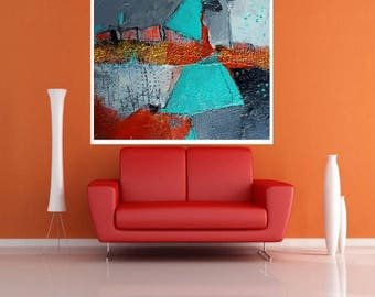 """Textured Abstract """"Broken But Not Shattered"""" 12 x 12  teal and orange original painting  by artist and author Jodi Ohl"""